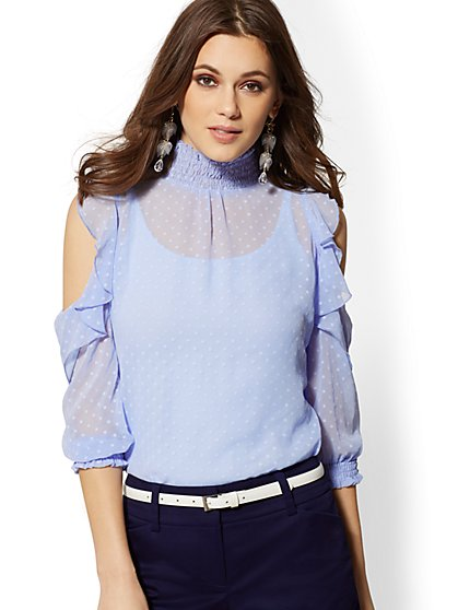 Mock-Neck Clip-Dot Blouse - New York & Company