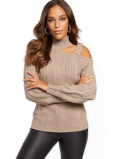 Mock-Neck Cold-Shoulder Sweater - New York & Company