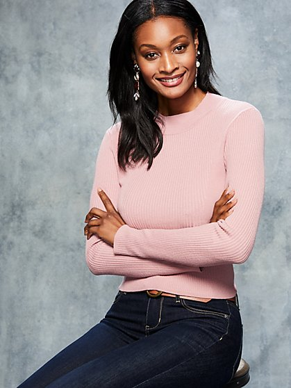 Mock-Neck Crop Sweater - New York & Company