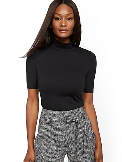 Mock-Neck Elbow-Sleeve Top - 7th Avenue - New York & Company