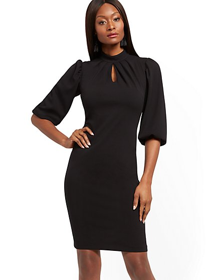Mock-Neck Keyhole Sheath Dress - Magic Crepe® - New York & Company