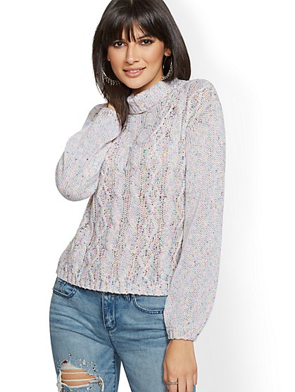 Mock-Neck Marled Cable-Knit Sweater - New York & Company