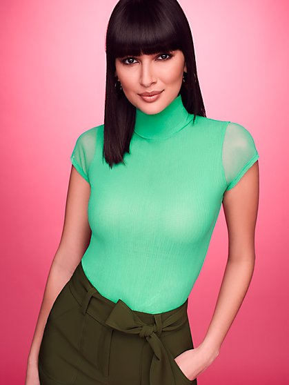 Mock-Neck Mesh Top - Sweet Pea - New York & Company