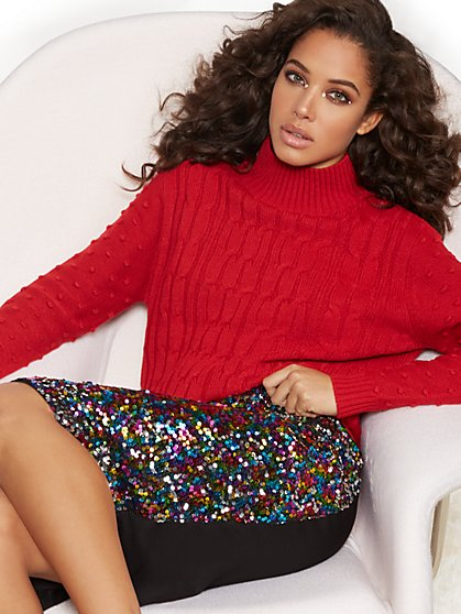 Mock-Neck Mixed-Knit Sweater - New York & Company