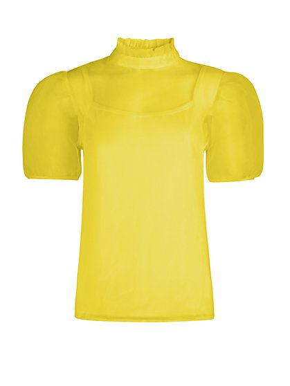 Mock-Neck Organza Puff-Sleeve Top - New York & Company