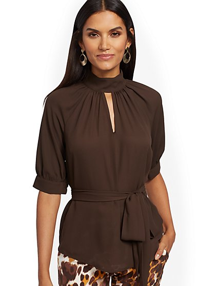 Mock-Neck Puff-Sleeve Blouse - 7th Avenue - New York & Company