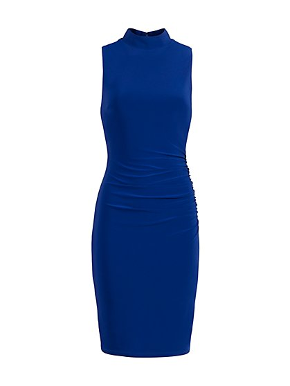 Mock-Neck Ruched Sheath Dress - New York & Company