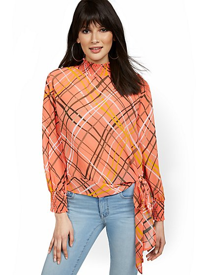 Mock-Neck Side-Tie Blouse - New York & Company
