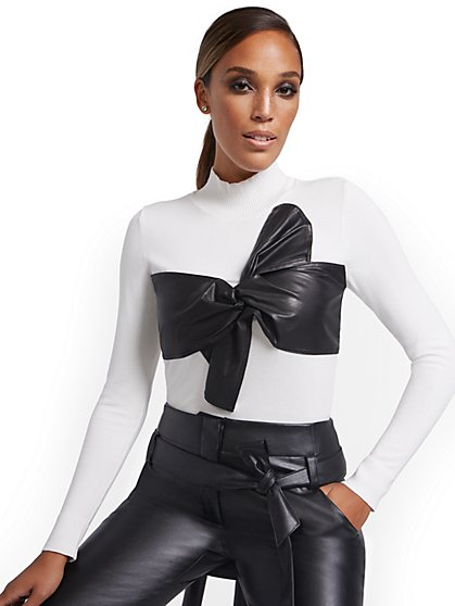 Mock-Neck Sweater with Faux Leather Bow - New York & Company