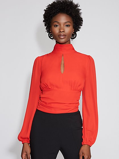 Mock-Neck Tie-Back Blouse - Gabrielle Union Collection - New York & Company