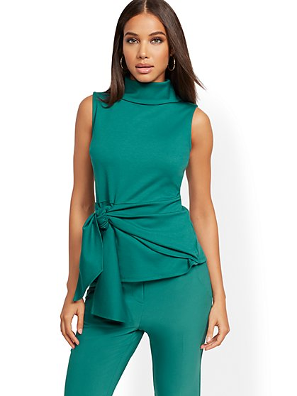 Mock-Neck Tie-Front Peplum Top - 7th Avenue - New York & Company