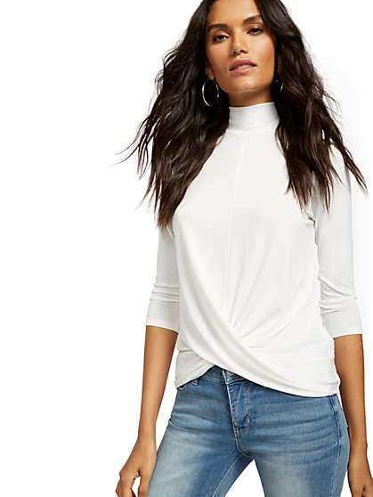 Mock-Neck Twist-Front Top - New York & Company