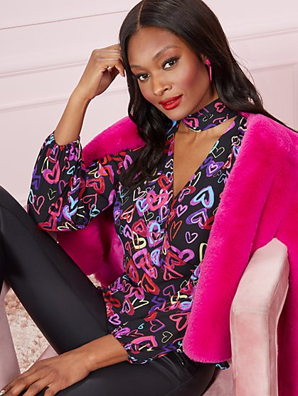 Mock-Neck Wrap Blouse - Heart Print - New York & Company
