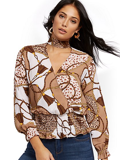 Mock-Neck Wrap Blouse - Mixed Print - New York & Company