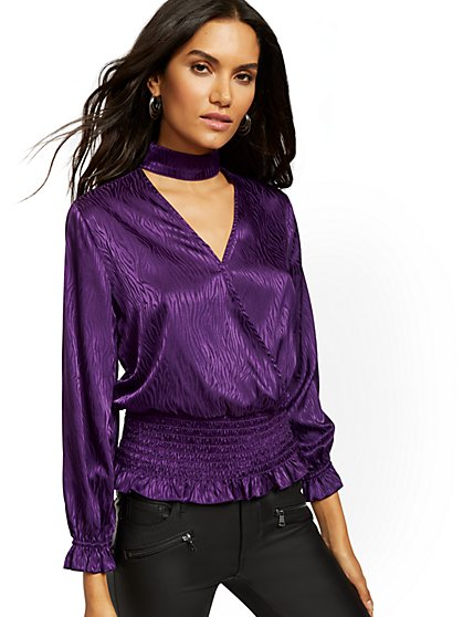 Mock-Neck Wrap Blouse - New York & Company