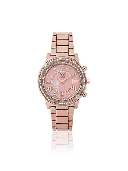 Mother of Pearl & Pave Link Watch - New York & Company