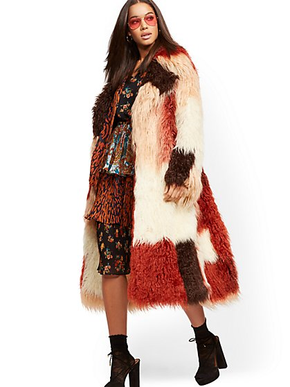 Multi-Color Faux-Fur Coat - New York & Company