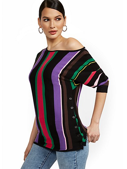 Multi-Stripe Side-Button Tunic Sweater - New York & Company