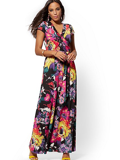 Multicolor Abstract-Print Maxi Dress - New York & Company