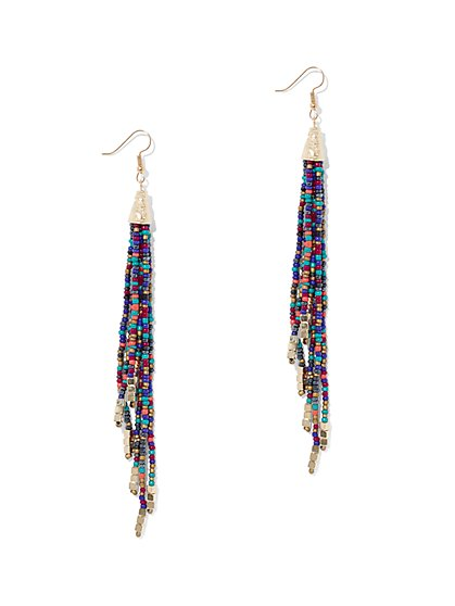 Multicolor Beaded Drop Earring - New York & Company