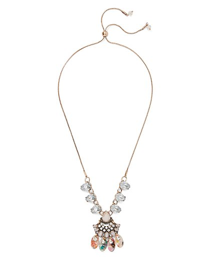 Multicolor Beaded Pendant Necklace - New York & Company