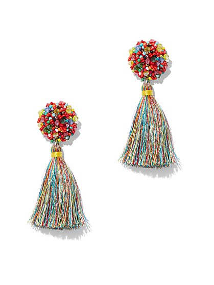 Multicolor Beaded Tassel Drop Earring - New York & Company