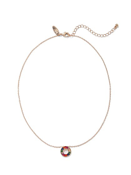 Multicolor Faux-Stone Circle Pendant Necklace - New York & Company