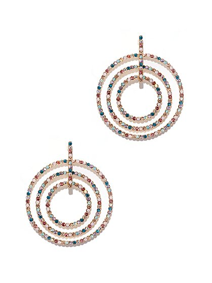 Multicolor Faux-Stone Circular Drop Earring - New York & Company