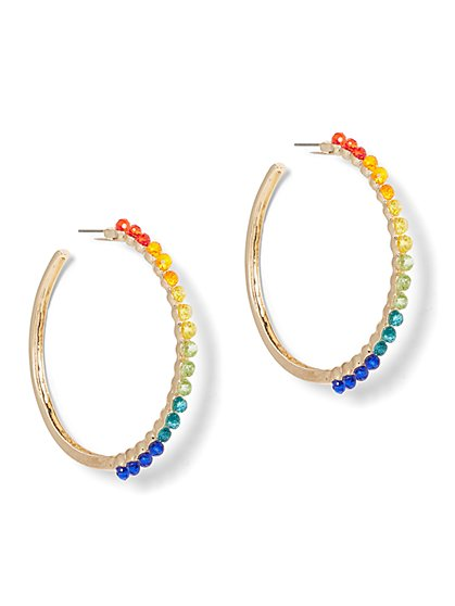 Multicolor Faux-Stone Hoop Earring - New York & Company