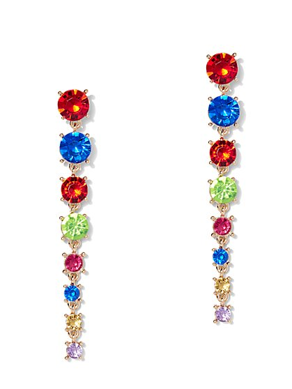 Multicolor Faux-Stone Linear Drop Earring - New York & Company
