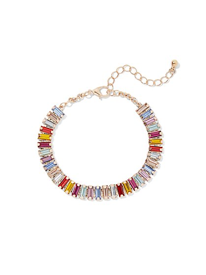 Multicolor Faux-Stone Link Bracelet - New York & Company