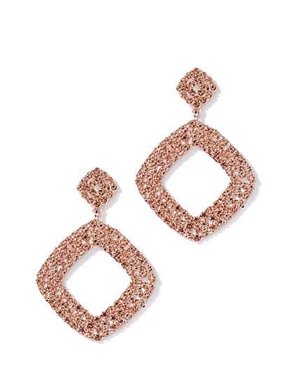 Multicolor Faux-Stone Square Drop Earring - New York & Company