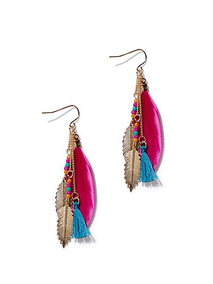 Multicolor Feather Drop Earring - New York & Company