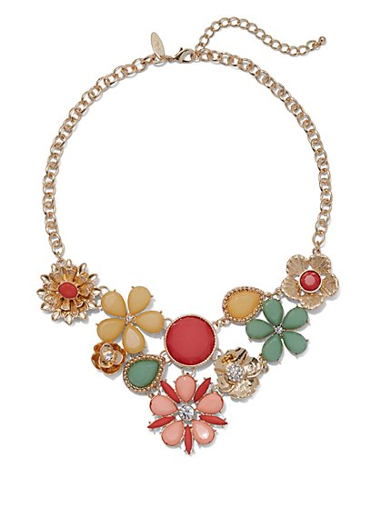 Multicolor Floral Statement Necklace - New York & Company