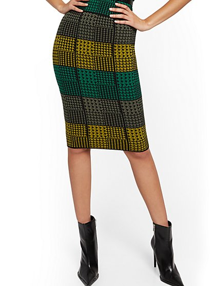 Multicolor Houndstooth Sweater Skirt - 7th Avenue - New York & Company