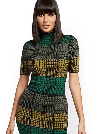 Multicolor Houndstooth Sweater - New York & Company