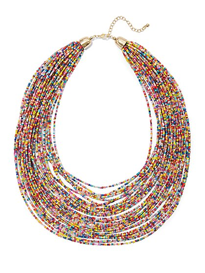 Multicolor Layered Seed Beed Necklace - New York & Company
