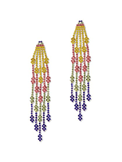 Multicolor Linear Beaded Drop Earring - New York & Company