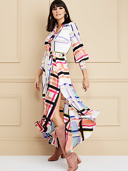 Multicolor Maxi Shirtdress - New York & Company