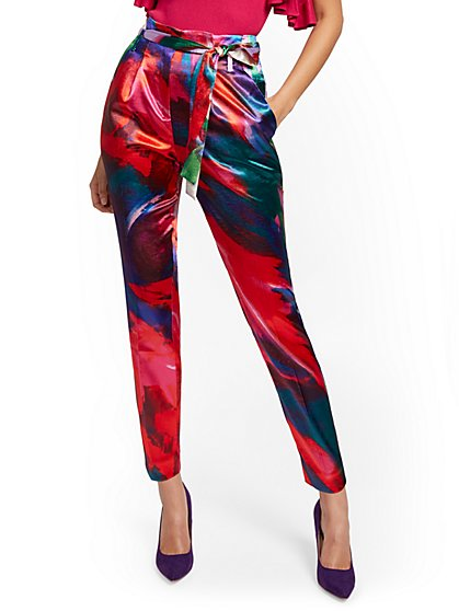 Multicolor Paperbag-Waist Pant - 7th Avenue - New York & Company