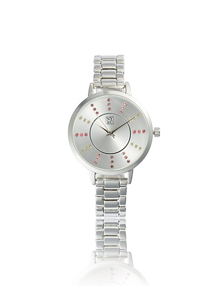 Multicolor Pave Silvertone Link Watch - New York & Company