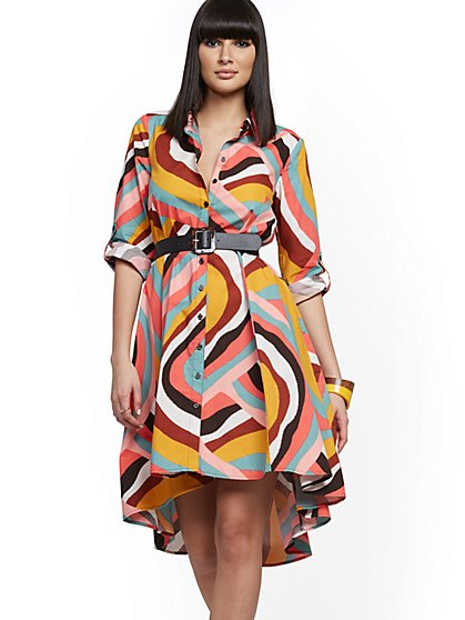 Multicolor Print Hi-Lo Shirtdress - New York & Company