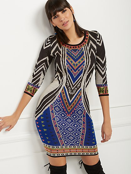 Multicolor Print Sweater Sheath Dress - New York & Company