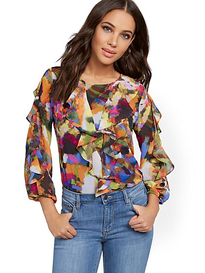 Multicolor Ruffled Blouse - New York & Company