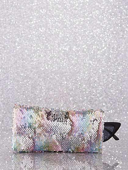 Multicolor Sequin Glasses Case - New York & Company