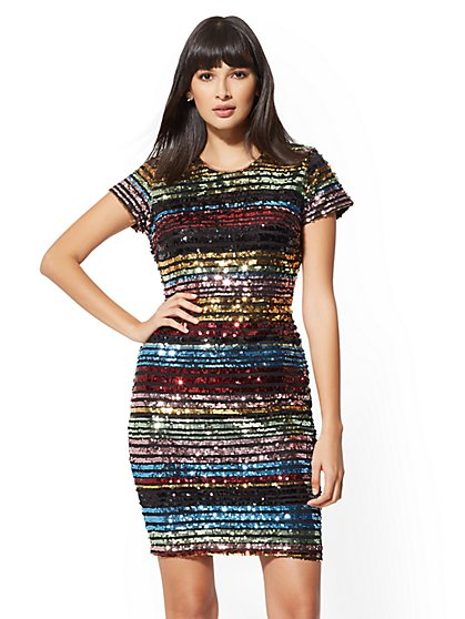 Multicolor Sequin Sheath Dress - New York & Company