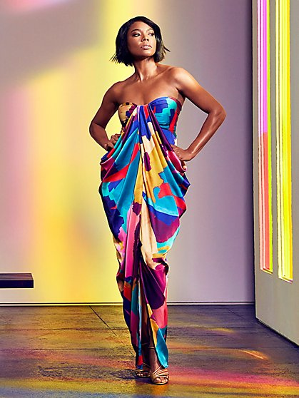 Multicolor Strapless Maxi Dress - Gabrielle Union Collection - New York & Company