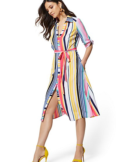 Multicolor Stripe Belted Shirtdress - New York & Company