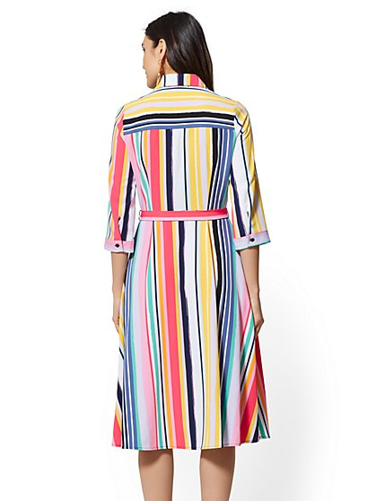 5617a56ea8 ... Multicolor Stripe Belted Shirtdress - New York & Company