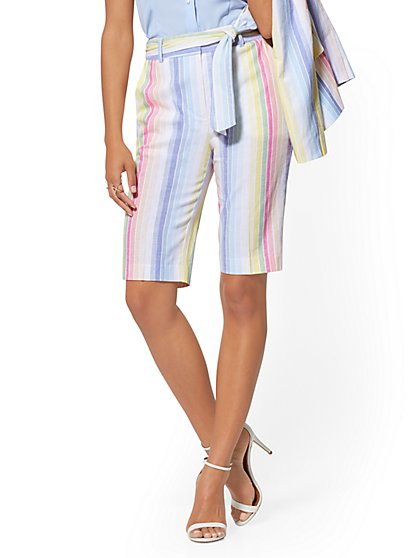 Multicolor Stripe Bermuda Short - 7th Avenue - New York & Company